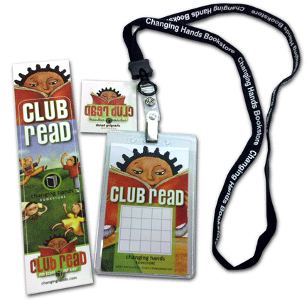 Club Read bookmark, lanyard, tatoo